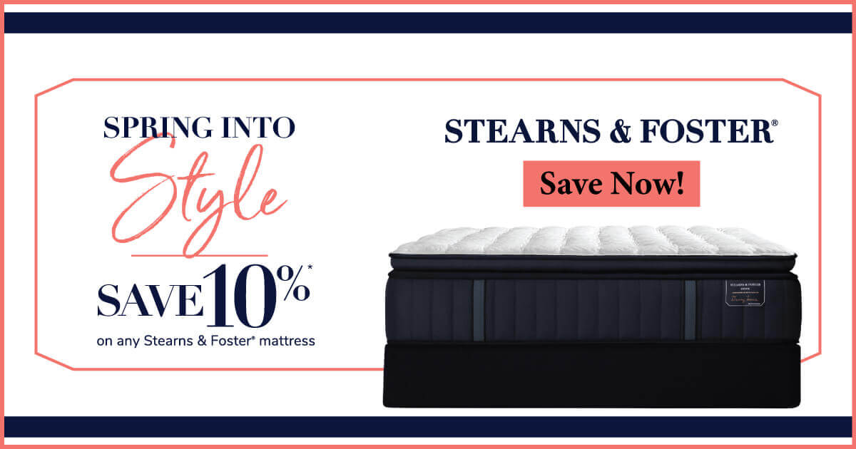 Save up to $800 on select Stearns & Foster mattresses and adjustable mattress sets.